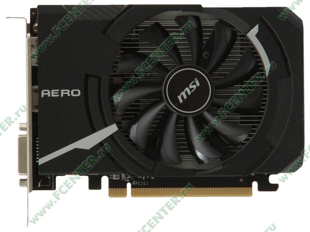 """Видеокарта MSI """"Radeon RX 560 AERO ITX 4G OC 4ГБ"""". Вид сверху."""