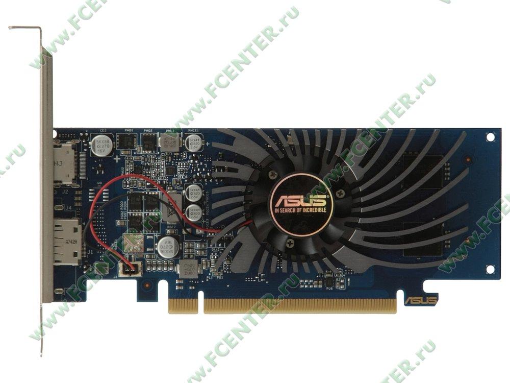 """Видеокарта ASUS """"GeForce GT 1030 2ГБ"""" GT1030-2G-BRK. Вид сверху."""
