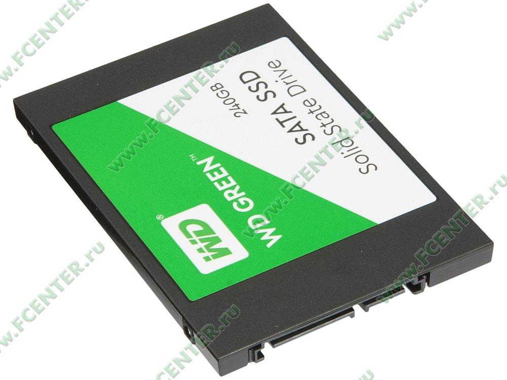 "SSD диск 240ГБ Western Digital ""Green"" (SATA III). Вид спереди."