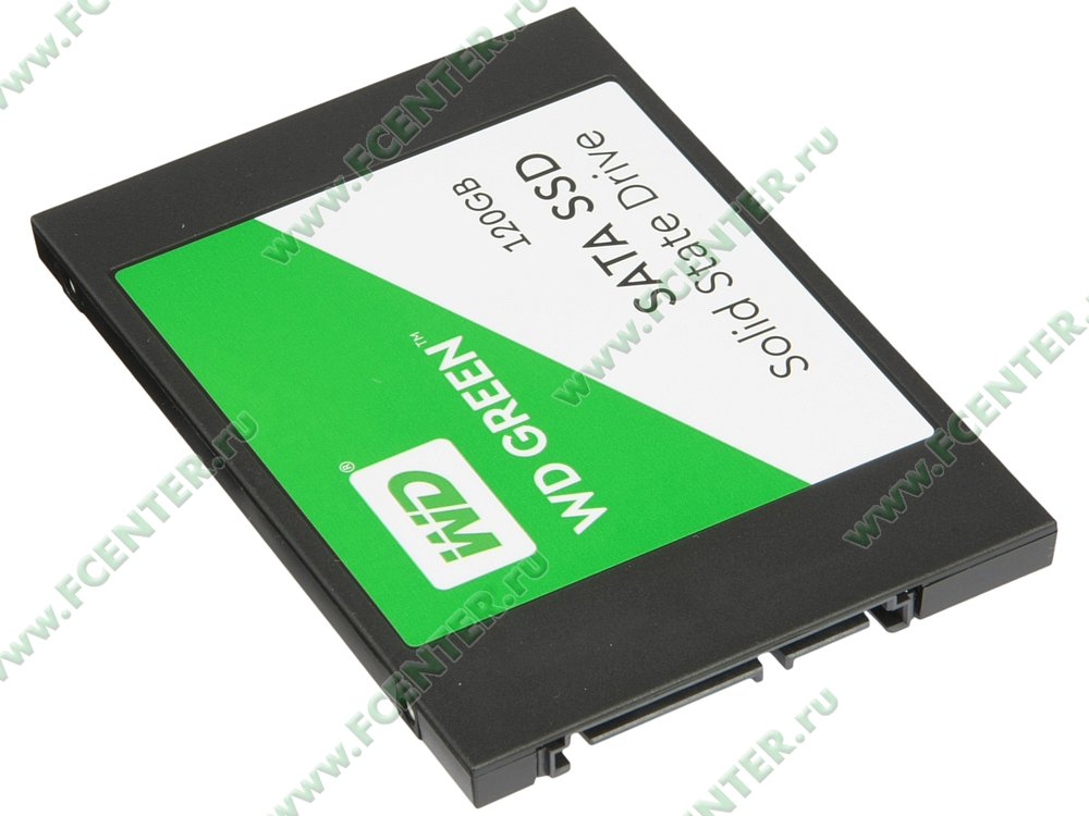 "SSD-диск SSD диск 120ГБ 2.5"" Western Digital ""Green"" WDS120G2G0A . Вид спереди."
