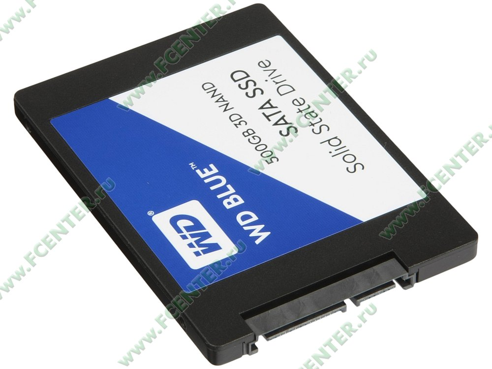 "SSD диск 500ГБ 2.5"" Western Digital ""Blue"" (SATA III). Вид спереди."