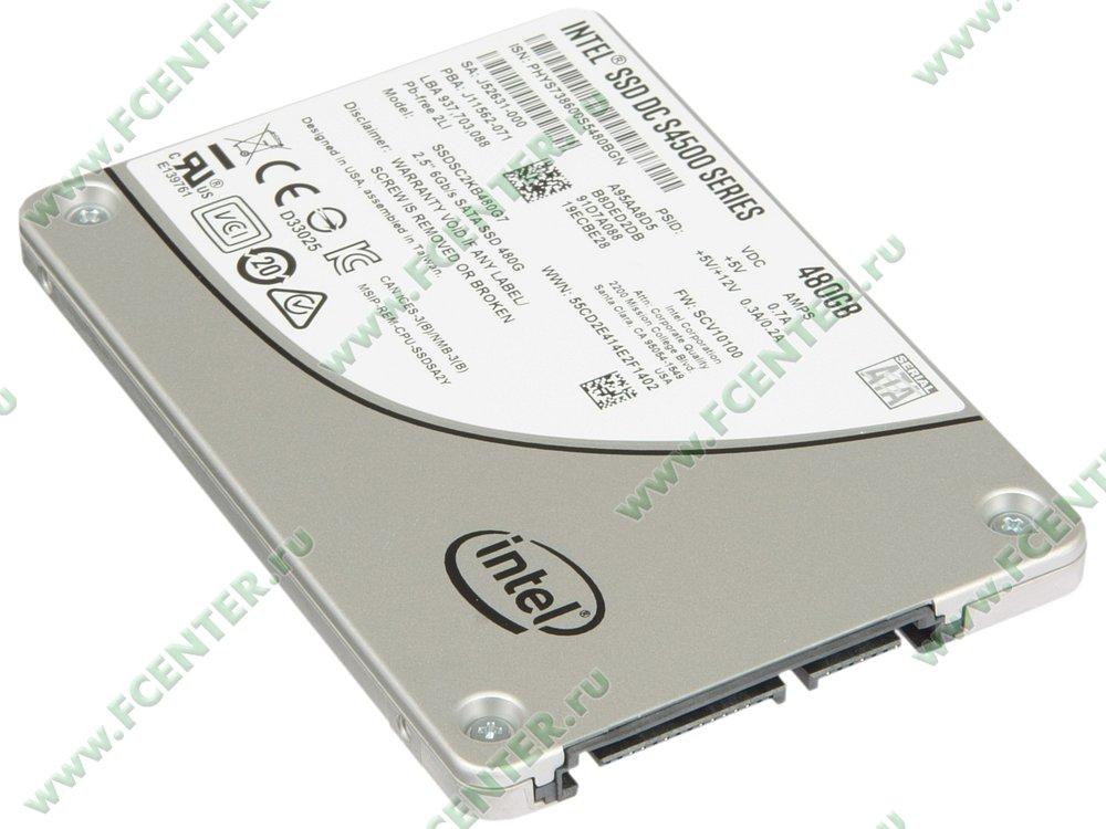 """SSD диск 480ГБ 2.5"""" Intel """"DC S4500"""" SSDSC2KB480G701 (SATA III). Вид спереди."""