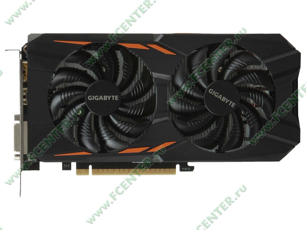 "Видеокарта GIGABYTE ""GeForce GTX 1050 Ti WINDFORCE OC 4G 4ГБ"". Вид сверху."