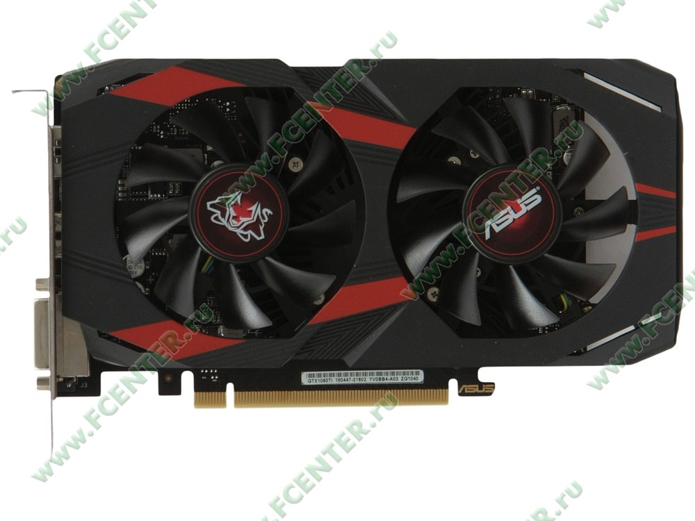 "Видеокарта ASUS ""GeForce GTX 1050 Ti 4ГБ"" CERBERUS-GTX1050TI-A4G. Вид сверху."
