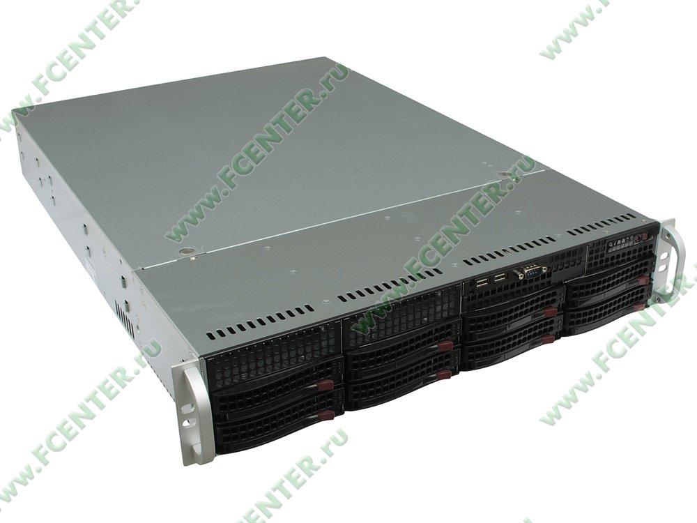 "Серверный корпус Supermicro ""CSE-825TQ-600LPB"" (600Вт). Вид спереди 1."