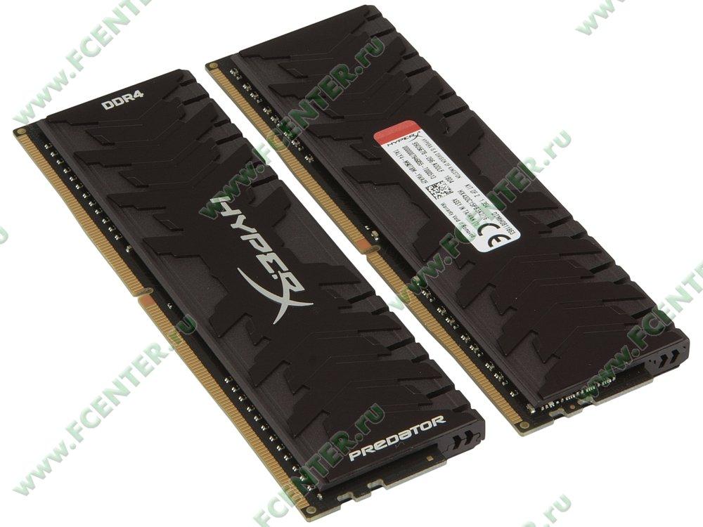 """Модуль оперативной памяти 2x8ГБ DDR4 Kingston """"HyperX Predator"""" (PC24000, CL15). Вид спереди."""