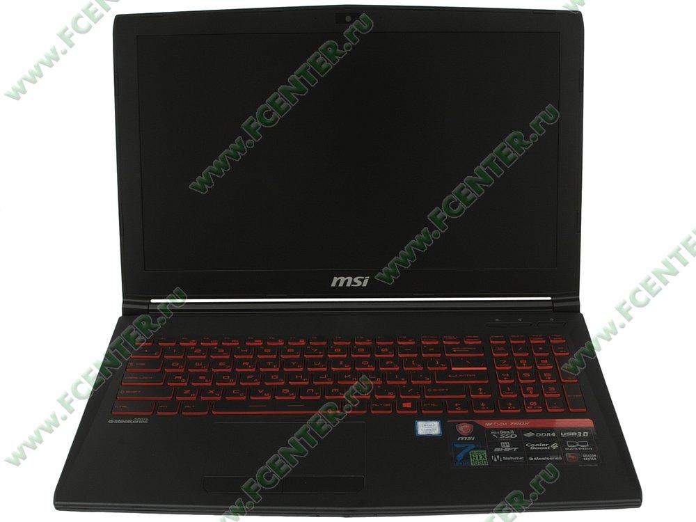 """Ноутбук MSI """"GL62M 7RDX-2678XRU"""". Вид cпереди 1."""