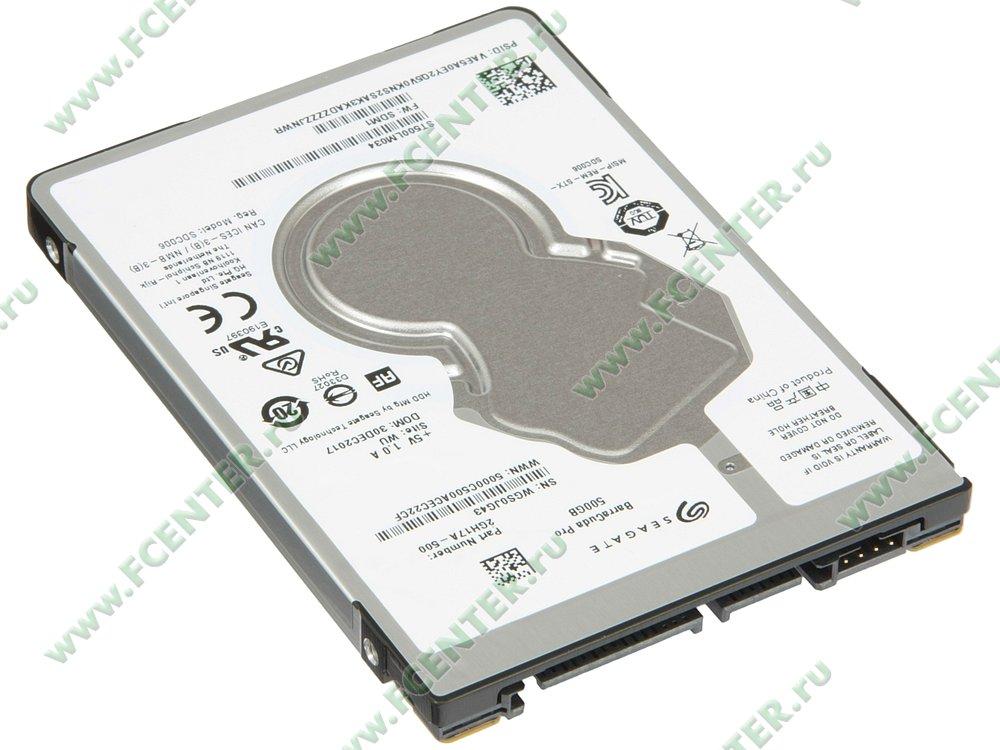 "Жесткий диск 500ГБ Seagate ""ST500LM034"" (SATA III). Вид спереди."