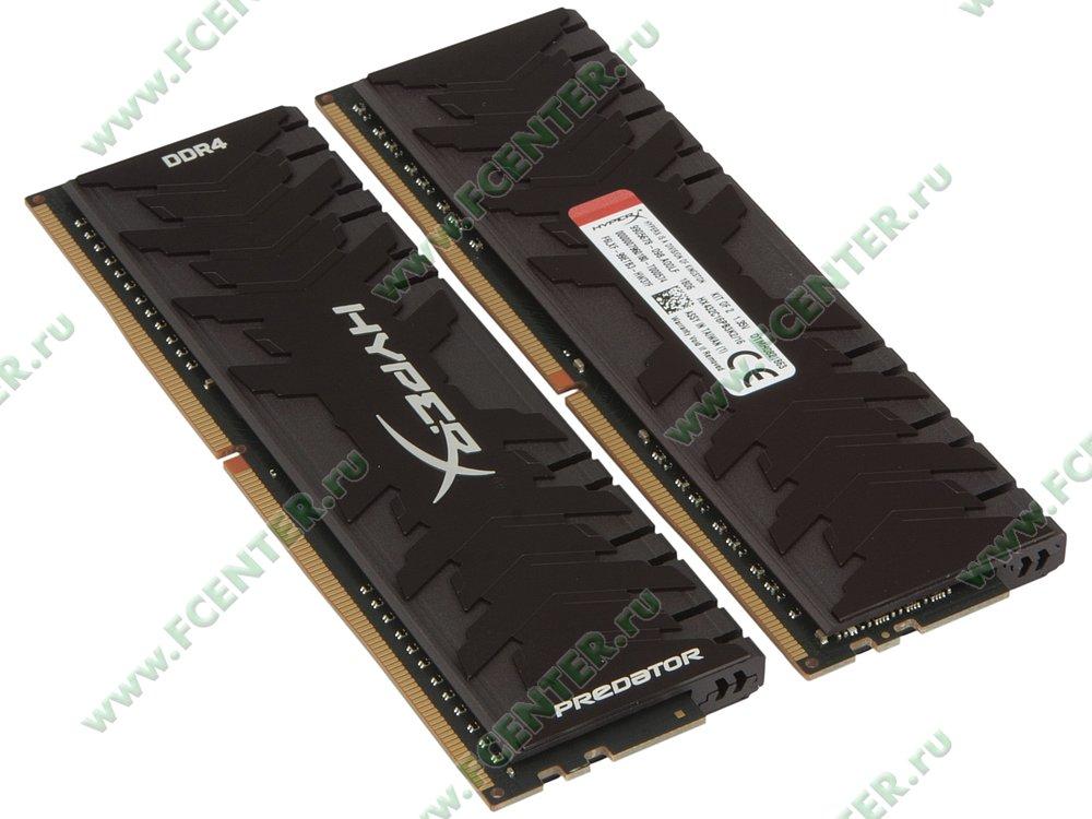 """Модуль оперативной памяти 2x8ГБ DDR4 Kingston """"HyperX Predator"""" (PC25600, CL16). Вид спереди."""