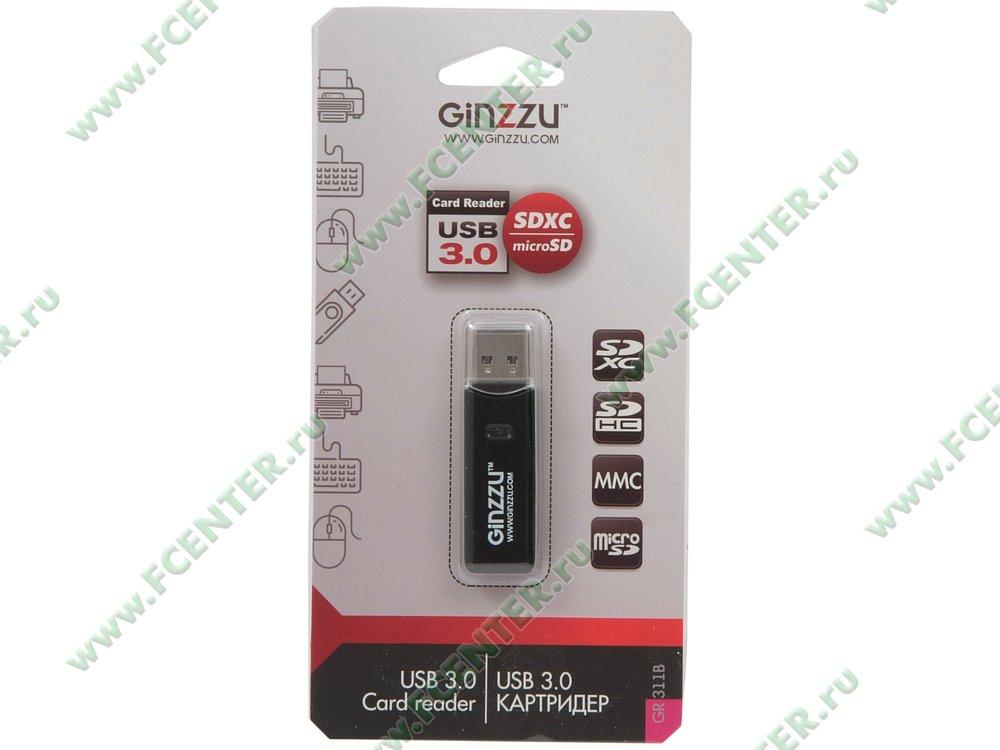 """Картридер Ginzzu """"GR-311B"""" (USB3.0). Коробка 1."""