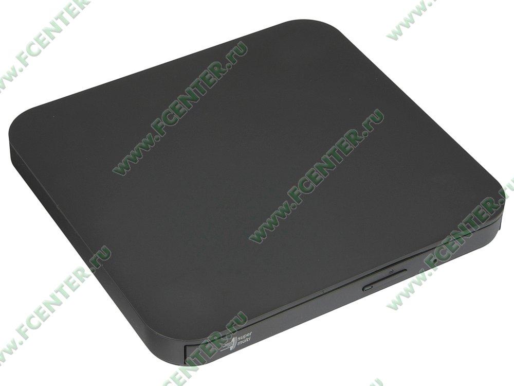 """Привод DVD±RW Привод DVD±RW 8x8x8xDVD/24x24x24xCD LG """"GP90NB70"""", внешн., черный . Вид спереди."""
