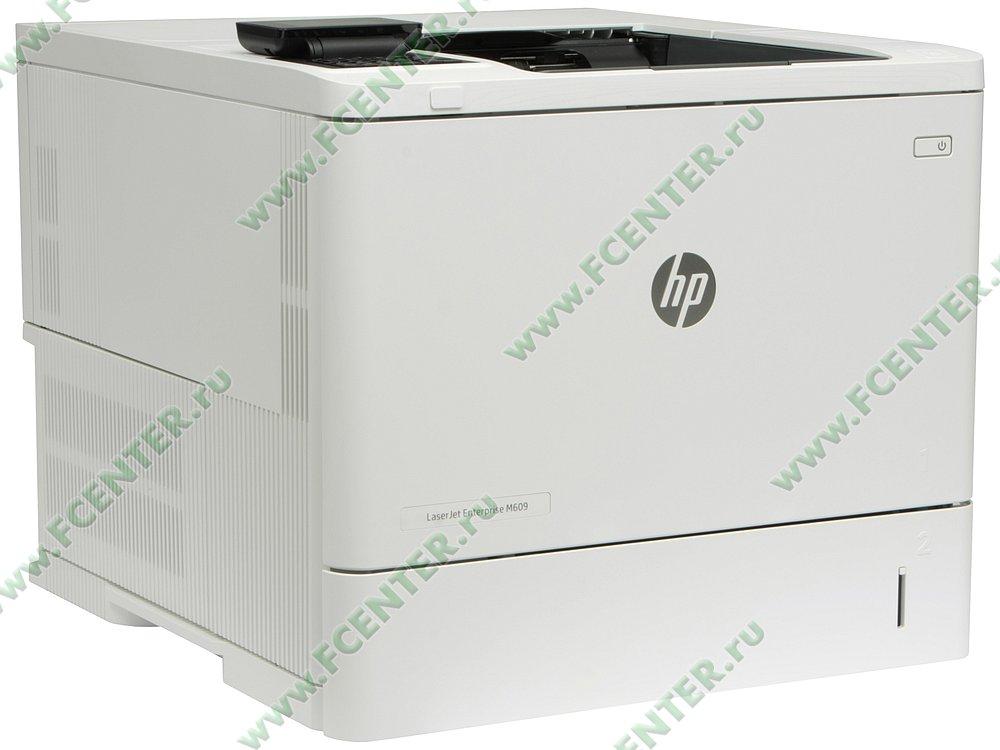 "Лазерный принтер HP ""LaserJet Enterprise M609dn"" A4 (USB2.0, LAN). Вид спереди 1."