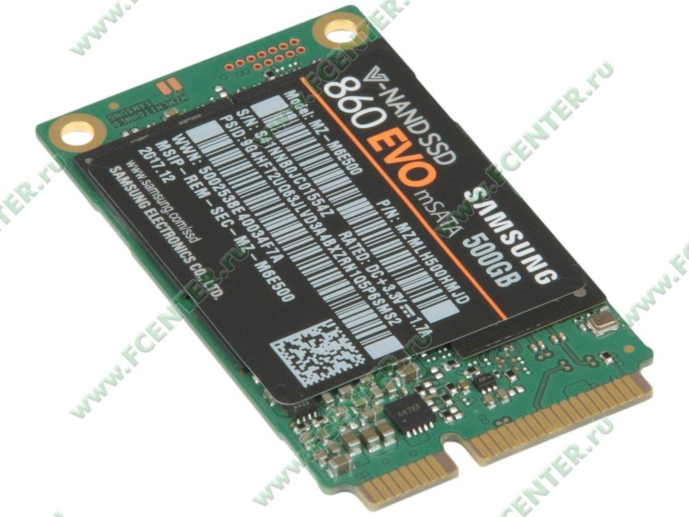 "SSD диск 500ГБ mSATA Samsung ""860 EVO"" (SATA III). Вид спереди."