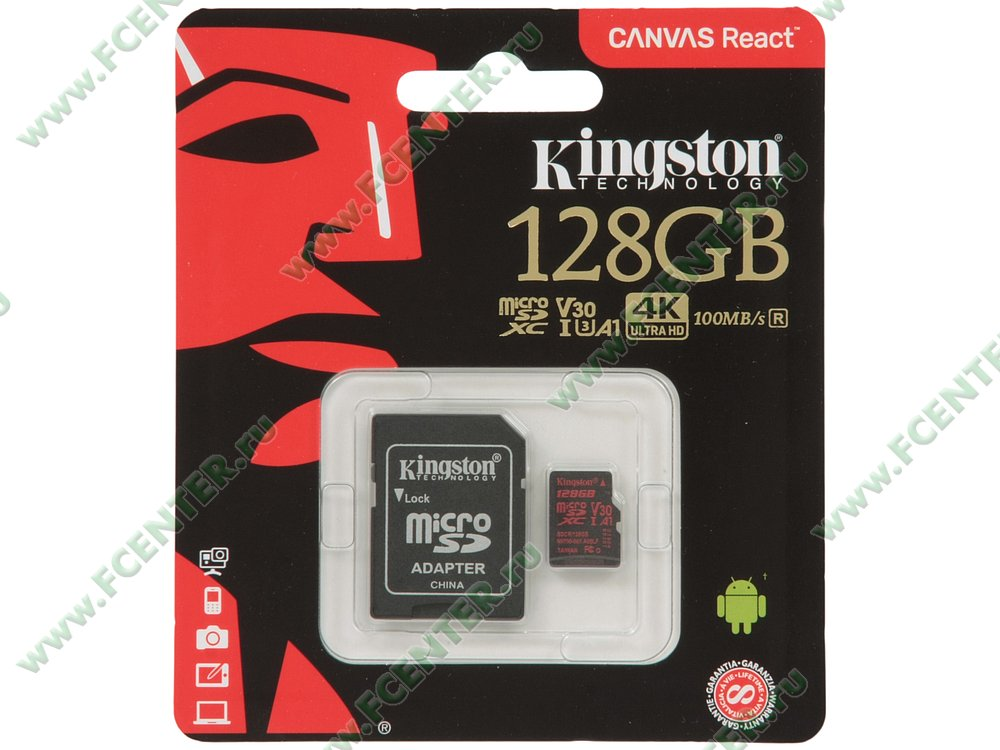 "Карта памяти 128ГБ Kingston ""SDCR/128GB"" microSDXC UHS-I. Коробка 1."