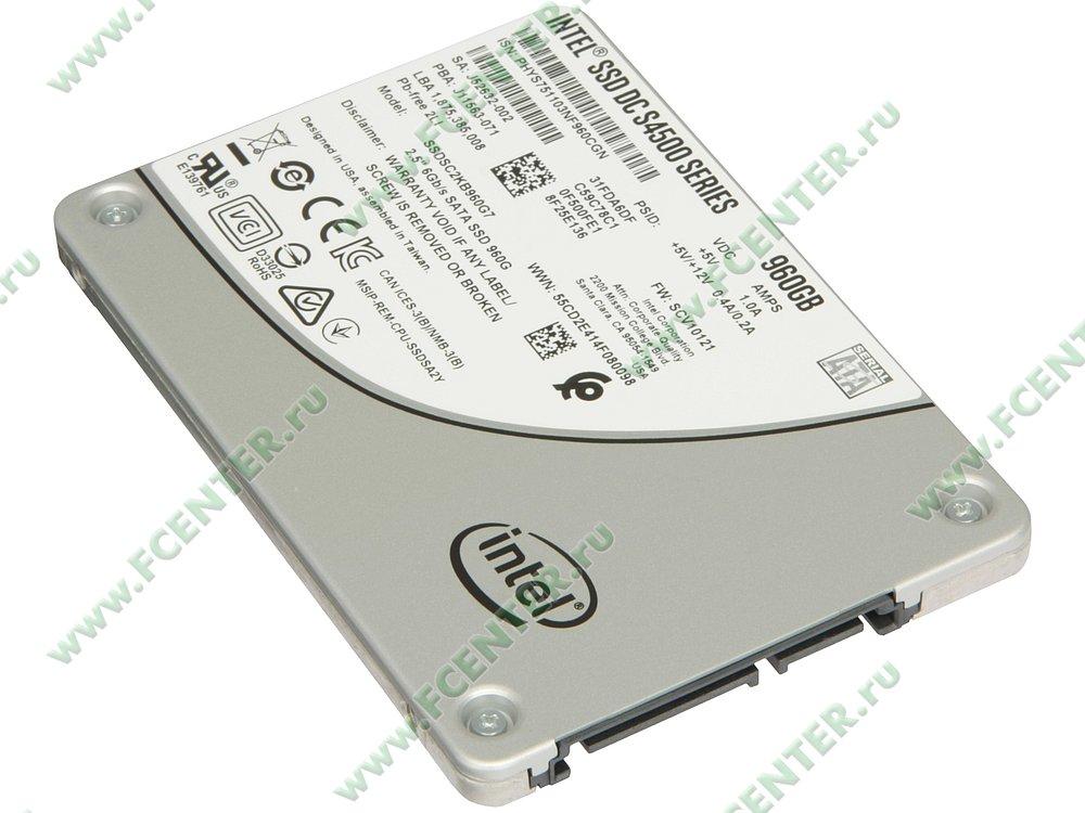 """SSD диск 960ГБ 2.5"""" Intel """"DC S4500"""" SSDSC2KB960G701 (SATA III). Вид спереди."""
