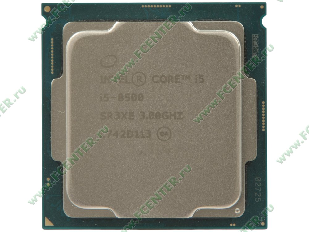 "Процессор Intel ""Core i5-8500"" Socket1151. Вид сверху."