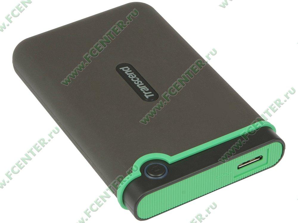 """Внешний жесткий диск Внешний жесткий диск 2ТБ 2.5"""" Transcend """"StoreJet 25M3"""" TS2TSJ25M3S, серо-зеленый . Вид спереди."""