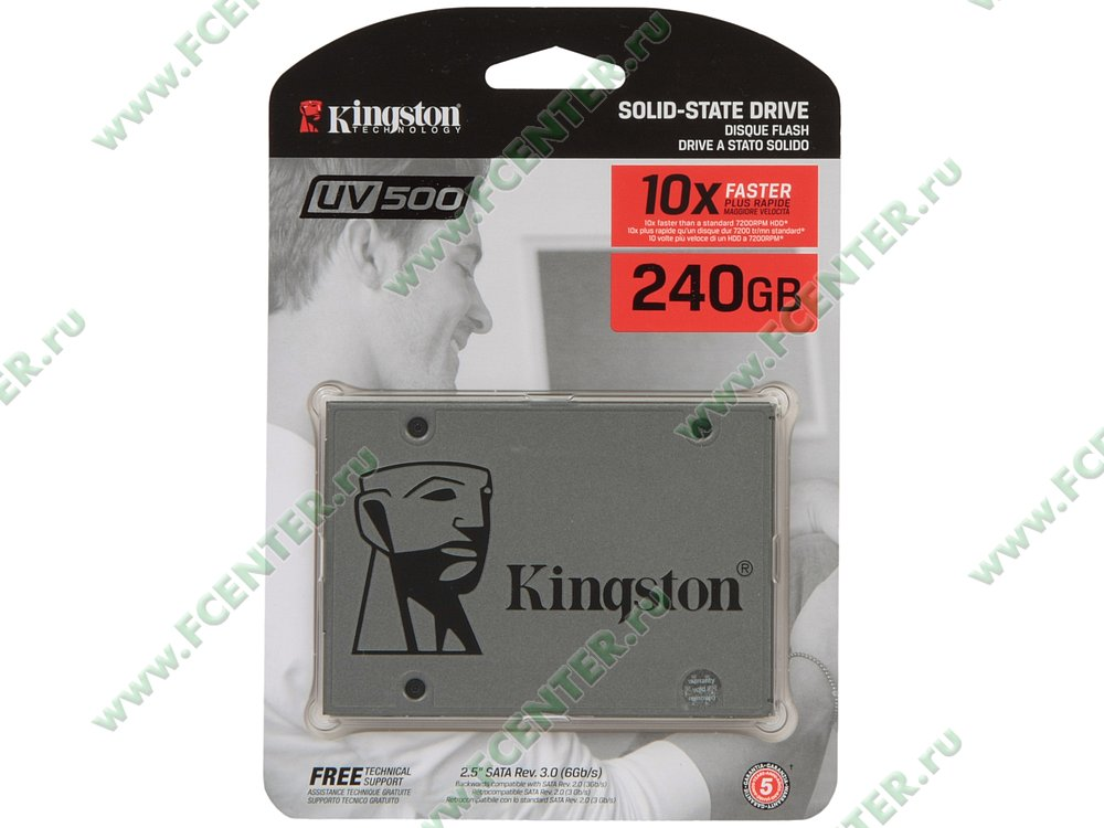 "SSD диск 240ГБ 2.5"" Kingston ""UV500"" SUV500/240G (SATA III). Коробка 1."