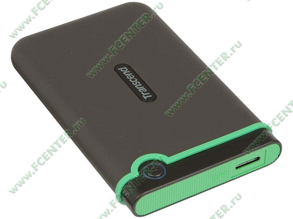 """Внешний жесткий диск Внешний жесткий диск 500ГБ 2.5"""" Transcend """"StoreJet 25M3"""" TS500GSJ25M3S, серо-зеленый . Вид спереди."""