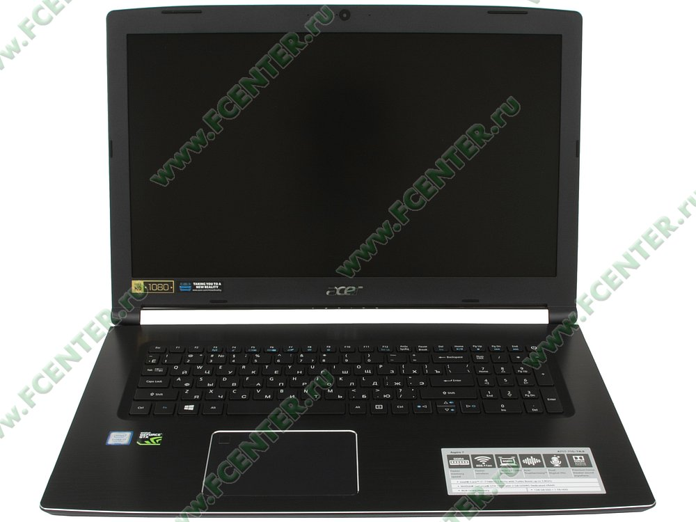 "Ноутбук Acer ""Aspire A717-71G-74BL"". Вид cпереди 1."