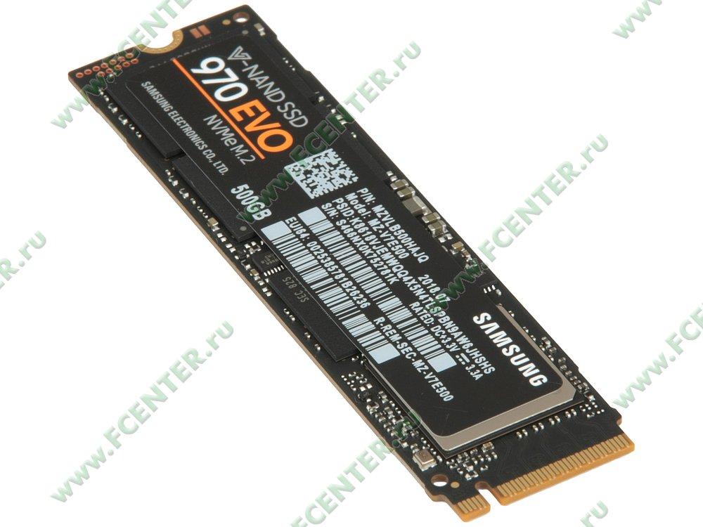 "SSD-диск 500ГБ M.2 Samsung ""970 EVO"" (PCI-E). Вид сверху."