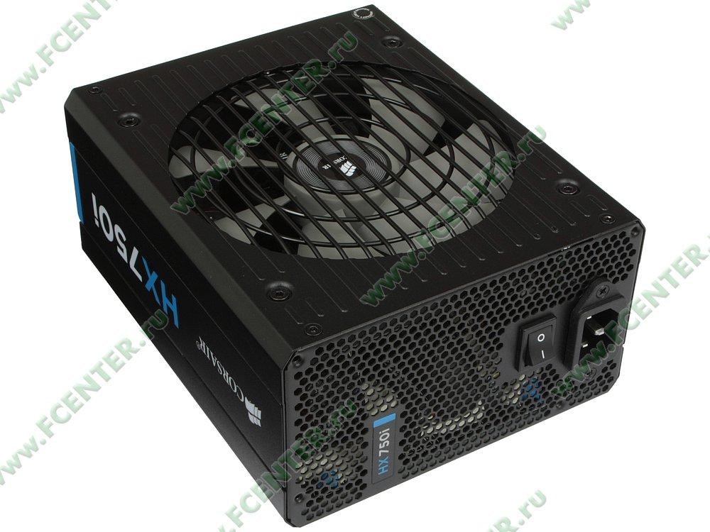 "Блок питания 750Вт Corsair ""HX750i"" CP-9020072-EU ATX12V V2.31. Вид спереди."