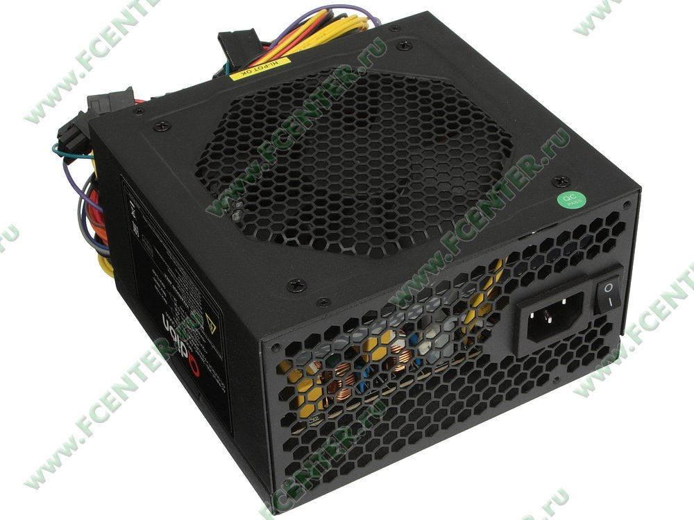"""Блок питания 600Вт FSP """"Q-DION QD600"""" ATX12V V2.3. Вид спереди."""