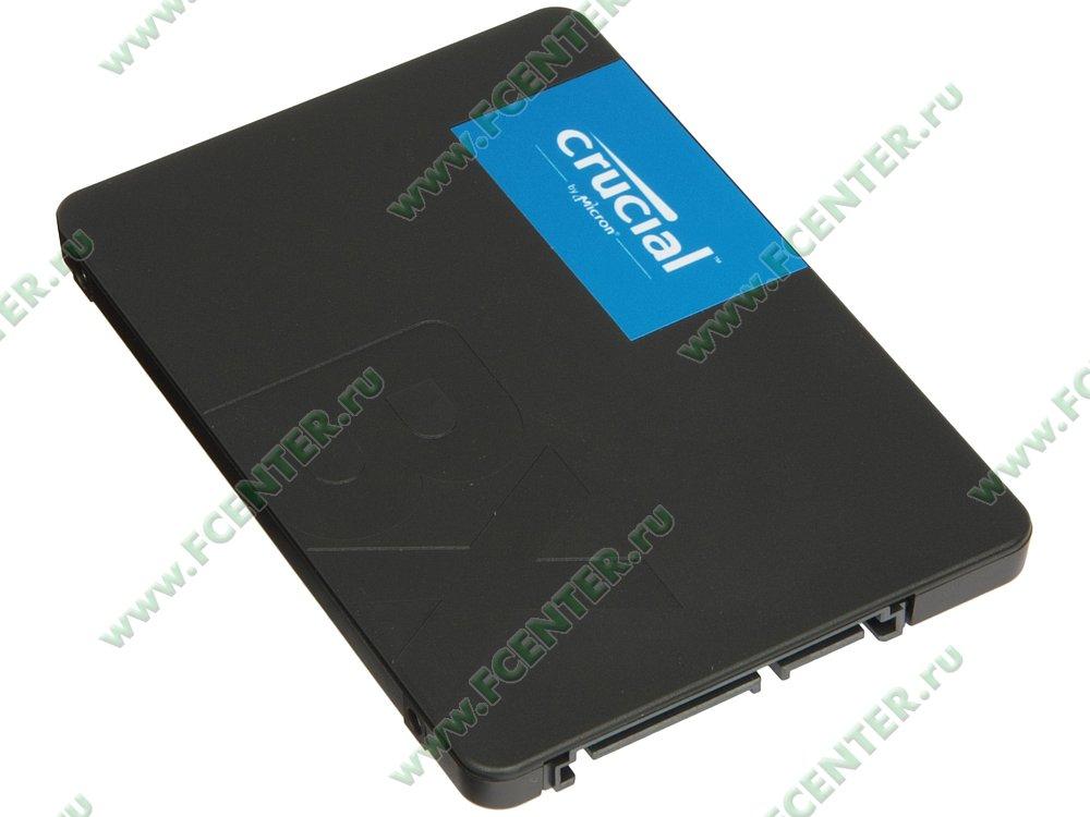 "SSD диск 480ГБ 2.5"" Crucial ""BX500"" (SATA III). Вид спереди."