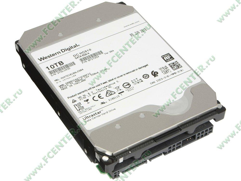 "Жесткий диск 10ТБ Western Digital ""Ultrastar DC HC510"" (SATA III). Вид спереди."