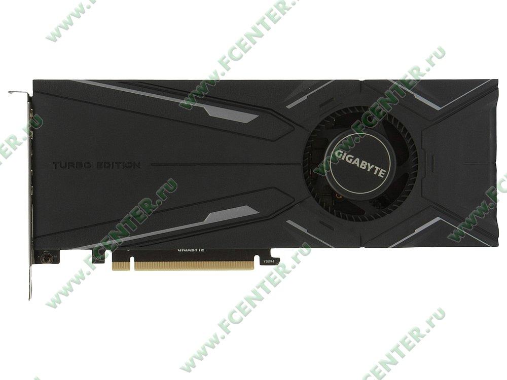 "Видеокарта GIGABYTE ""GeForce RTX 2080 TURBO OC 8G 8ГБ"". Вид сверху."