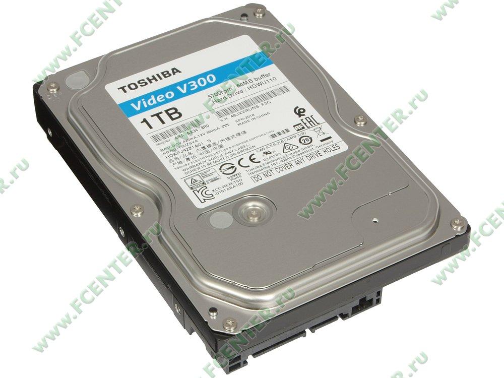 "Жесткий диск 1ТБ Toshiba ""Video V300"" (SATA III). Вид спереди."