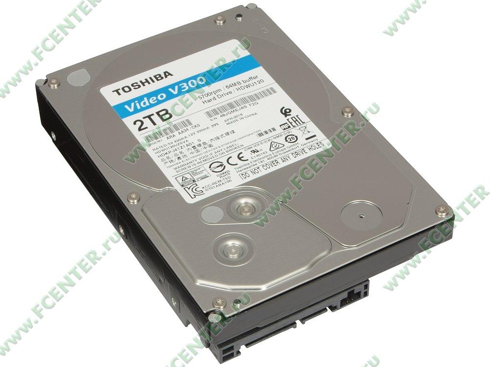 "Жесткий диск 2ТБ Toshiba ""Video V300"" (SATA III). Вид спереди."