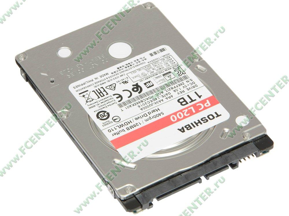 "Жесткий диск 1ТБ Toshiba ""L200"" (SATA III). Вид спереди."