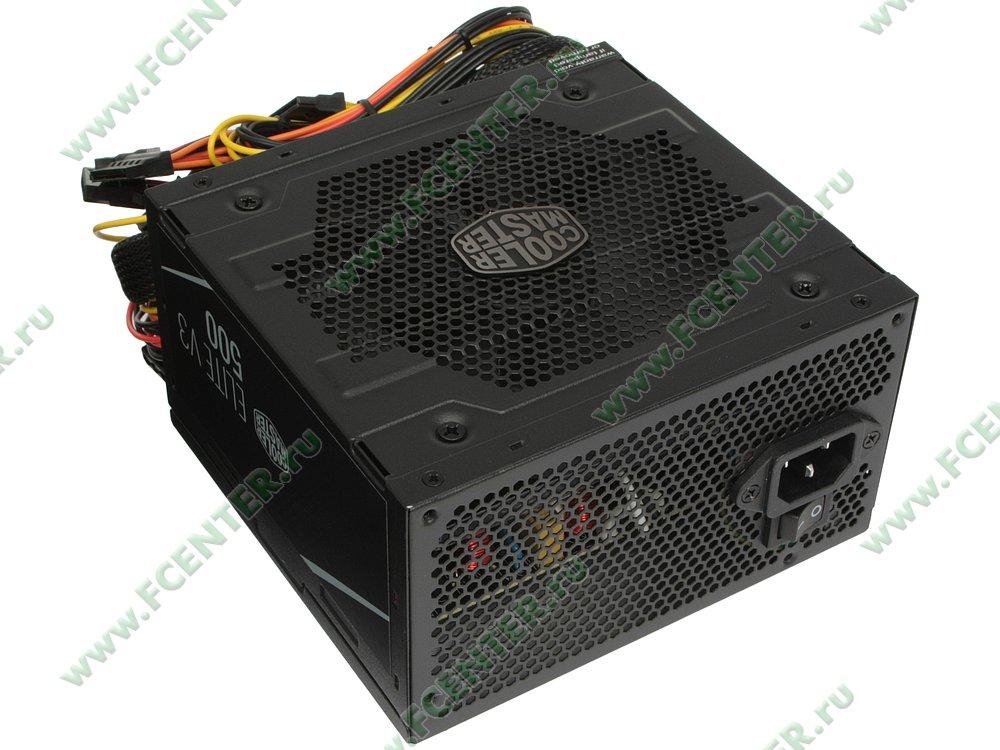 """Блок питания 500Вт Cooler Master """"Elite 500 Ver.3"""" MPW-5001-ACABN1-EU. Вид спереди."""