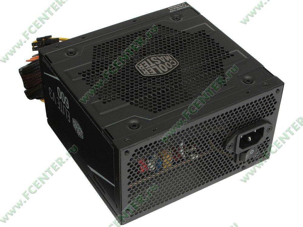 """Блок питания 600Вт Cooler Master """"Elite 600 Ver.3"""" MPW-6001-ACABN1-EU. Вид спереди."""