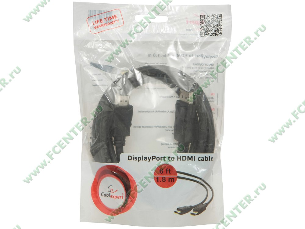 """Кабель-переходник DisplayPort<->HDMI Gembird """"Cablexpert CC-DP-HDMI-6"""" . Коробка."""