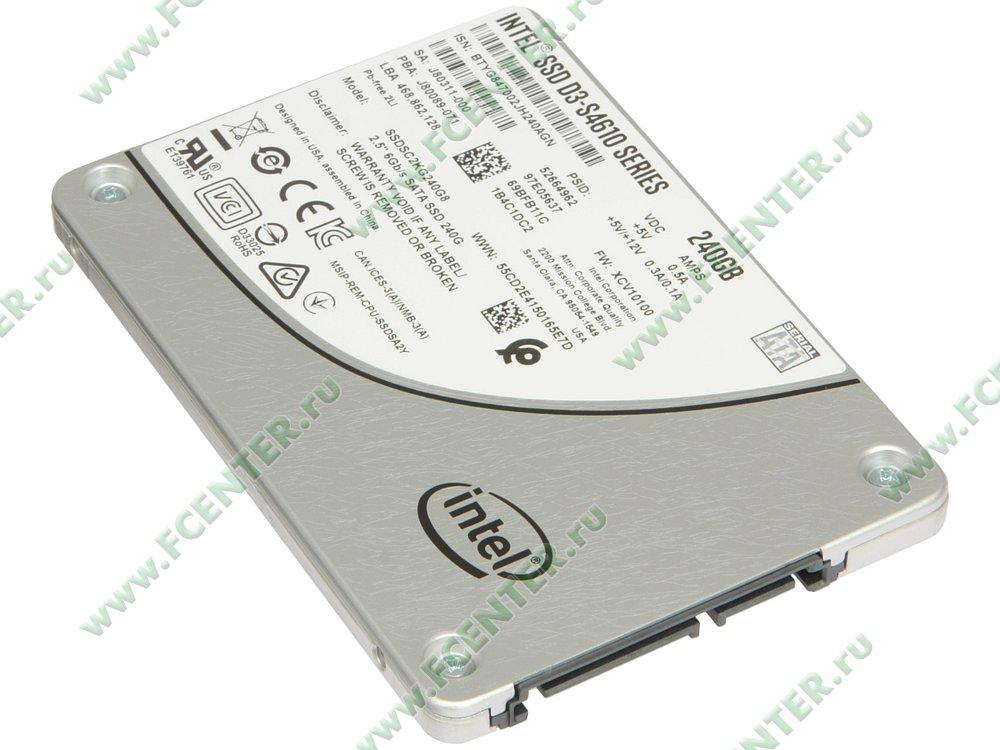 """SSD диск 240ГБ 2.5"""" Intel """"D3-S4610"""" SSDSC2KG240G801 (SATA III). Вид спереди."""