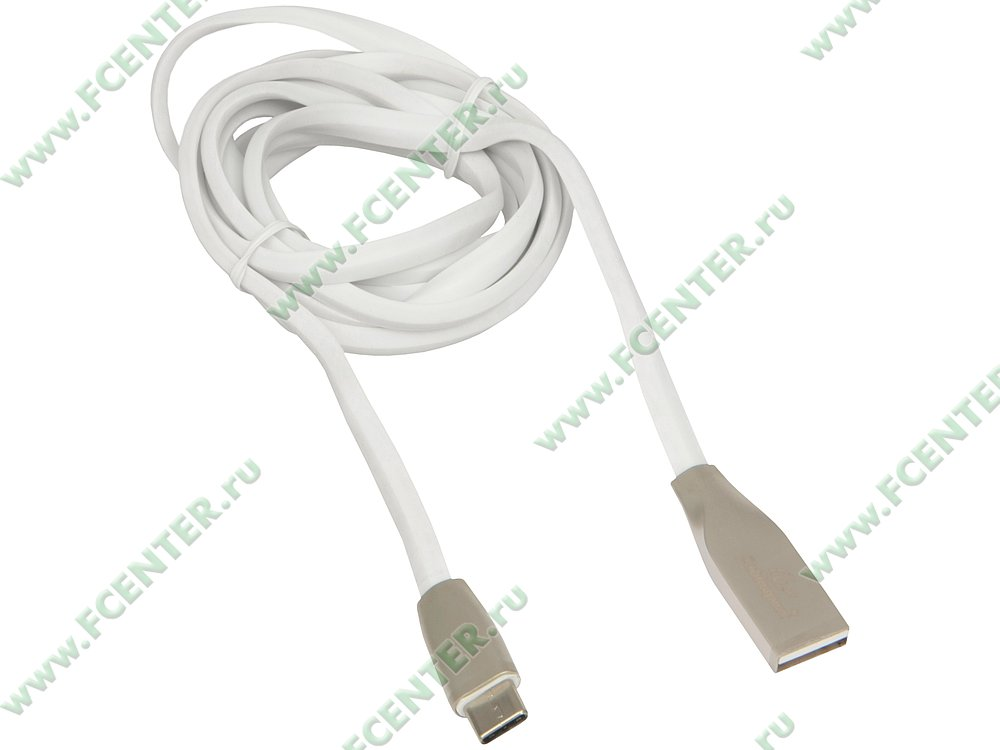 "Кабель USB2.0 Gembird ""Cablexpert CC-G-USBC01W-1.8M"" (1.8м). Вид спереди."