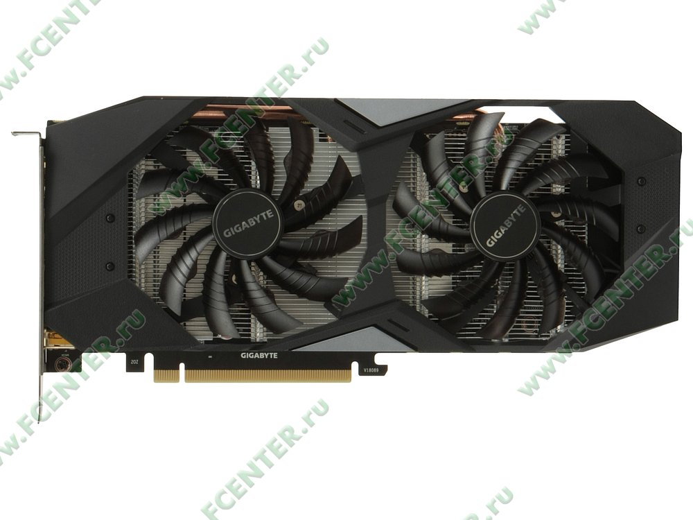 "Видеокарта GIGABYTE ""GeForce GTX 1660 Ti WINDFORCE OC 6G 6ГБ"". Вид сверху."