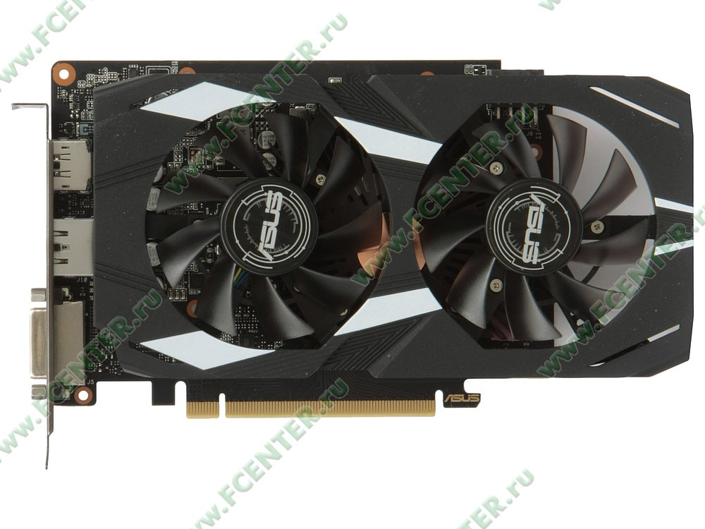 "Видеокарта ASUS ""GeForce GTX 1660 Ti 6ГБ"" DUAL-GTX1660TI-O6G. Вид сверху."