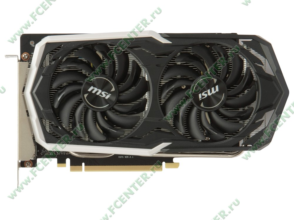 "Видеокарта MSI ""GeForce GTX 1660 Ti ARMOR 6G OC 6ГБ"". Вид сверху."