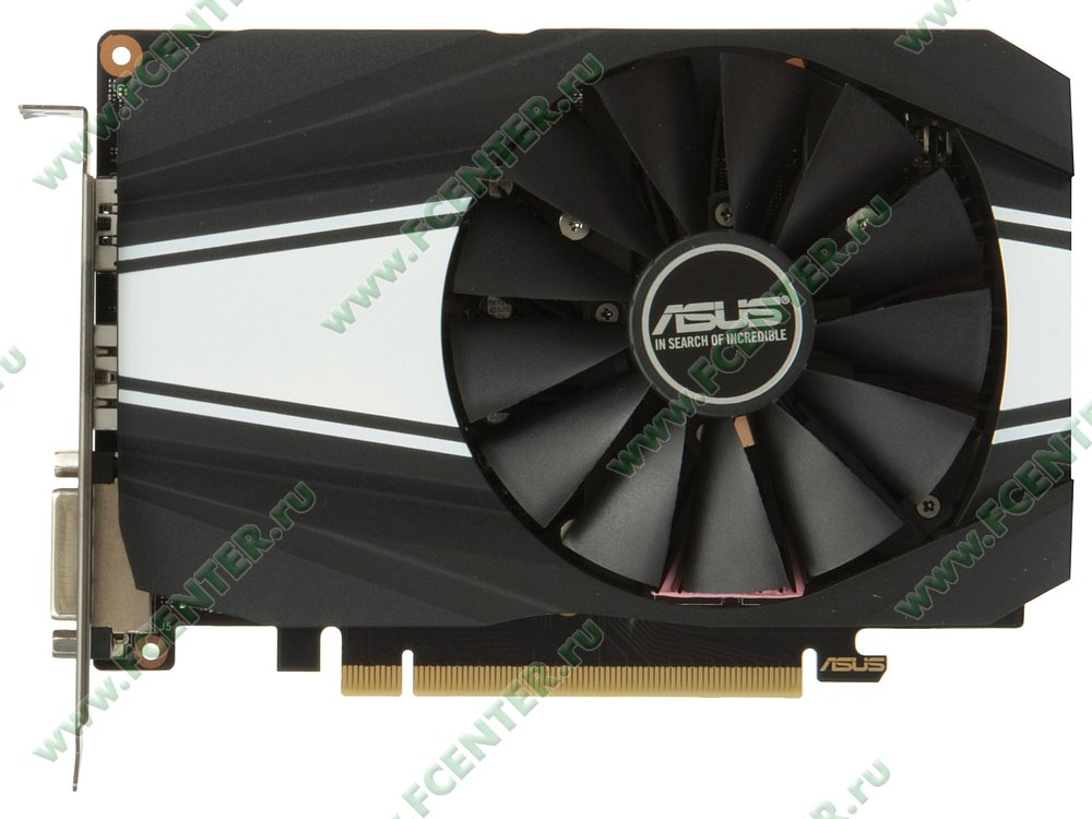 "Видеокарта ASUS ""GeForce GTX 1660 Ti 6ГБ"" PH-GTX1660TI-O6G. Вид сверху."