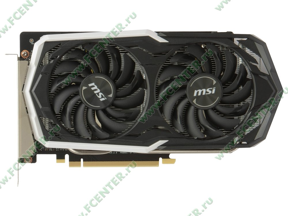 "Видеокарта MSI ""GeForce GTX 1660 ARMOR 6G OC 6ГБ"". Вид сверху."