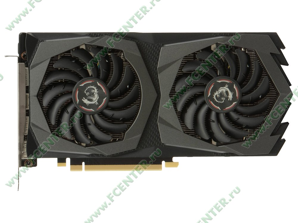 "Видеокарта MSI ""GeForce GTX 1660 GAMING X 6G 6ГБ"". Вид сверху."