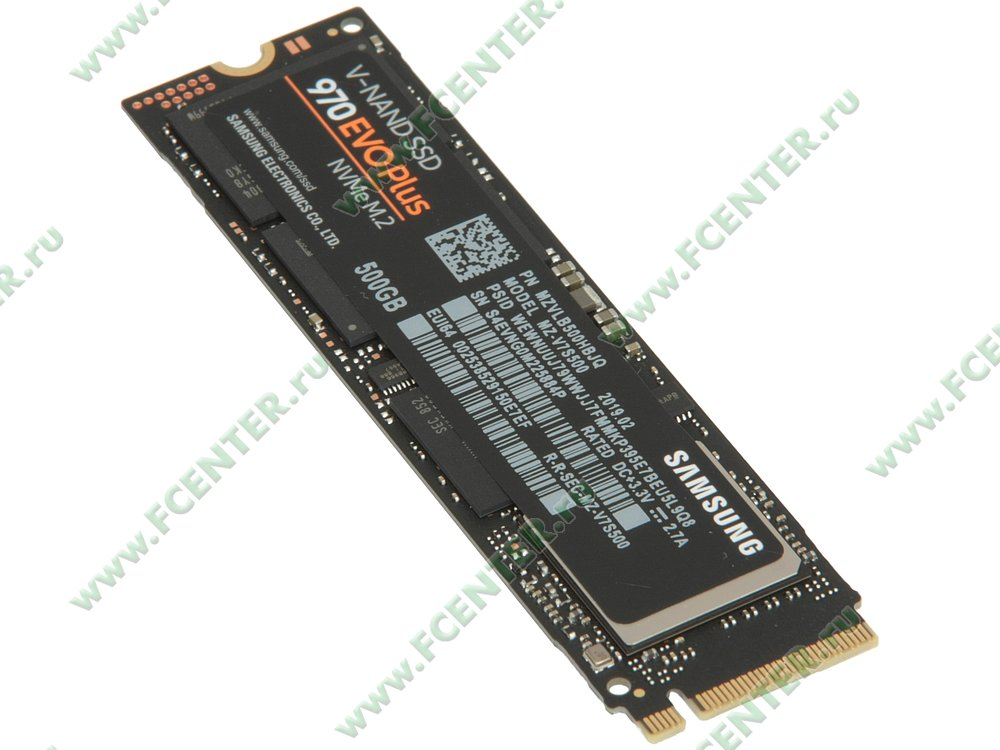 "SSD диск 500ГБ M.2 Samsung ""970 EVO Plus"" (PCI-E). Вид спереди."