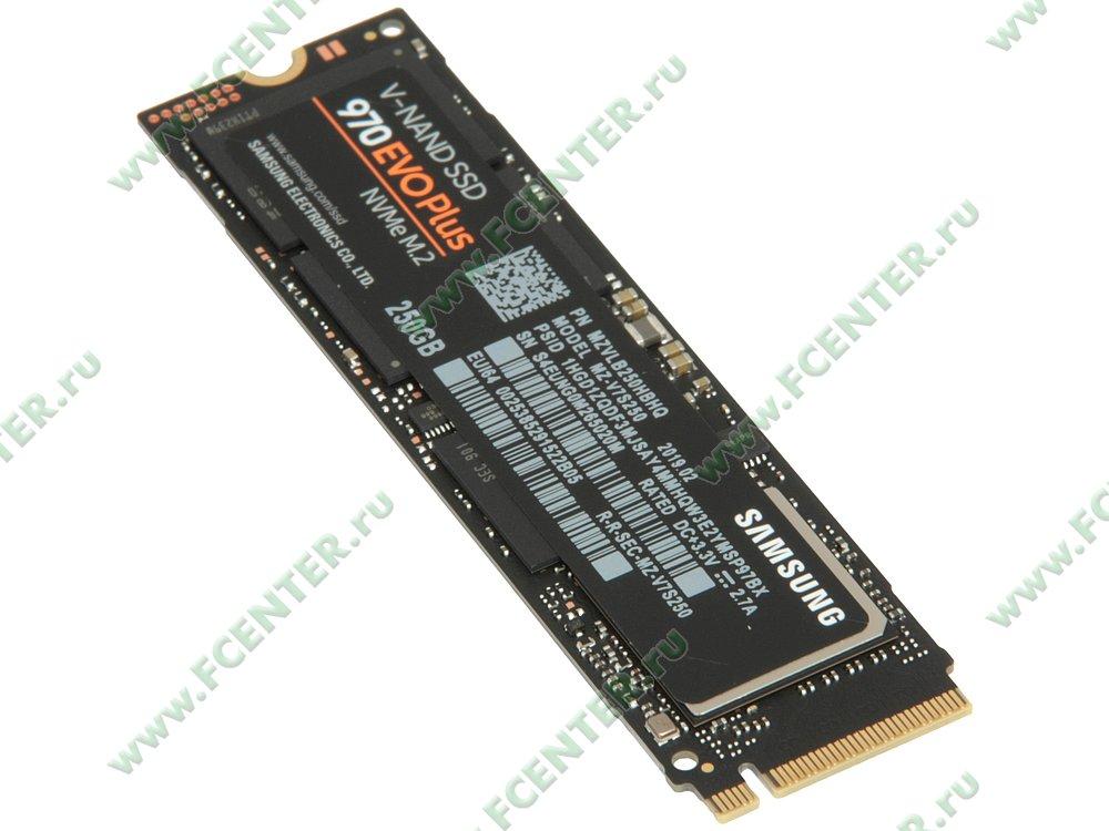 "SSD диск 250ГБ M.2 Samsung ""970 EVO Plus"" (PCI-E). Вид спереди."