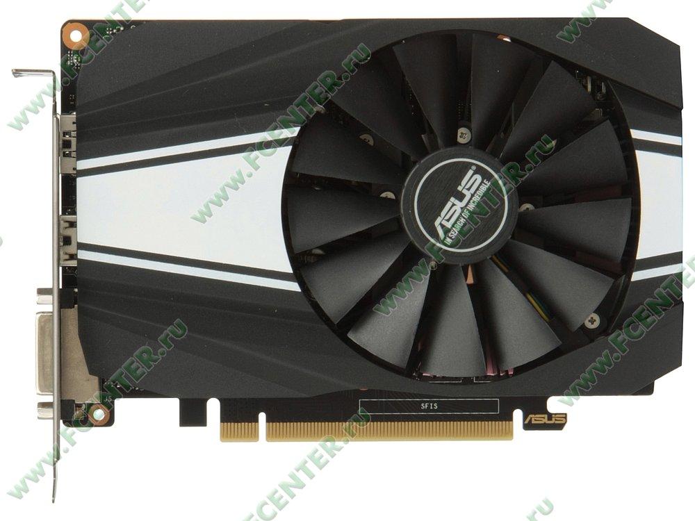"""Видеокарта ASUS """"GeForce GTX 1660 6ГБ"""" PH-GTX1660-O6G. Вид сверху."""