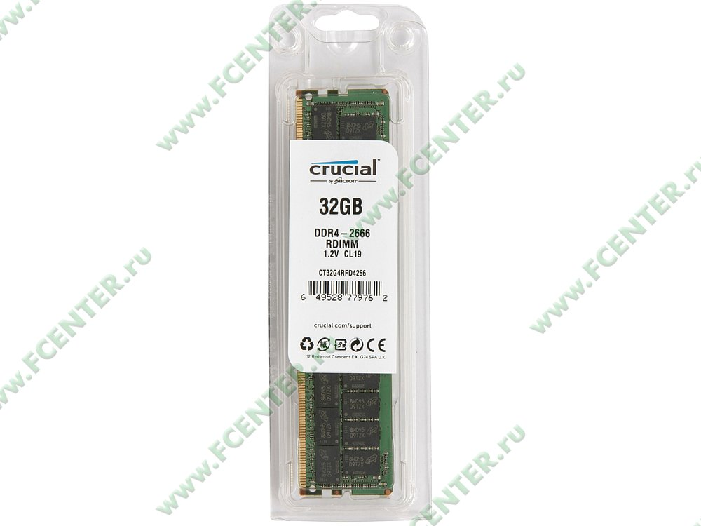 """Модуль оперативной памяти 32ГБ DDR4 SDRAM Crucial """"CT32G4RFD4266"""" (PC21300, CL19, Reg, ECC. Коробка 1."""