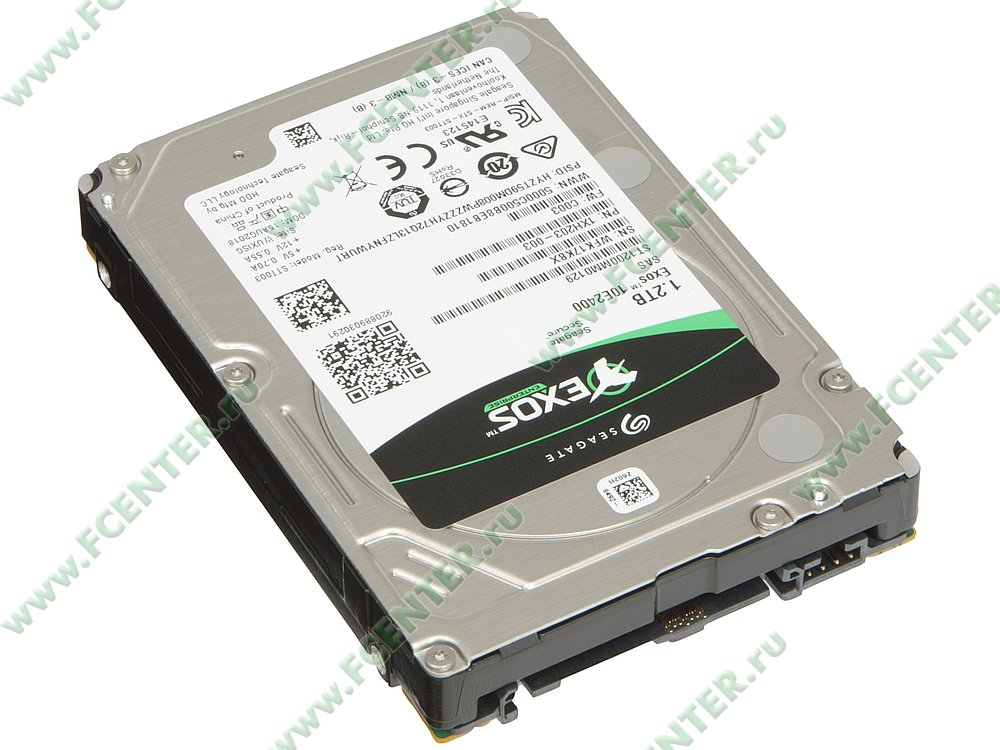 """Гибридный диск 1.2ТБ Seagate """"ST1200MM0129"""" (SAS). Вид спереди."""