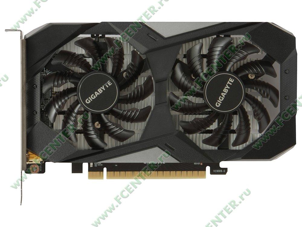 """Видеокарта GIGABYTE """"GeForce GTX 1650 OC 4G 4ГБ"""". Вид сверху."""
